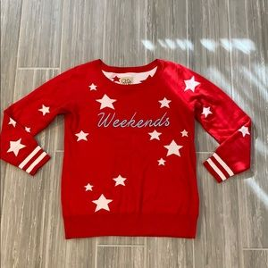 Chaser cashmere blend red star sweater, S
